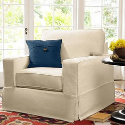 """PB Comfort Square Slipcovered Grand Armchair, Knife-Edge Down-Blend Wrap Cushion - Sink into the grand armchair just once, and you'll know how it got its name. Designed with an evender seat than our regular PB Comfort Armchair, the eco-friendly grand armchair offers 5"""" of extra width. 42.5"""" w x 42"""" d x 39"""" h {{link path='pages/popups/PB-FG-Comfort-Square-Arm-4.html' class='popup' width='720' height='800'}}View the dimension diagram for more information{{/link}}. {{link path='pages/popups/PB-FG-Comfort-Square-Arm-6.html' class='popup' width='720' height='800'}}The fit & measuring guide should be read prior to placing your order{{/link}}. Choose polyester wrapped cushions for a tailored and neat look, or down-blend for a casual and relaxed look. Choice of knife-edged or box-style back cushions. Proudly made in America, {{link path='/stylehouse/videos/videos/pbq_v36_rel.html?cm_sp=Video_PIP-_-PBQUALITY-_-SUTTER_STREET' class='popup' width='950' height='300'}}view video{{/link}}. For shipping and return information, click on the shipping tab. When making your selection, see the Quick Ship and Special Order fabrics below. {{link path='pages/popups/PB-FG-Comfort-Square-Arm-7.html' class='popup' width='720' height='800'}} Additional fabrics not shown below can be seen here{{/link}}. Please call 1.888.779.5176 to place your order for these additional fabrics."""
