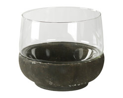 Zentique - Cassidy Candle Holder, Large - The Cassidy Candle Holder features a granular clay base and glass top. Size small.