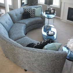 Custom Furniture Pieces Designed by Alexis Designs - We love this curved sectional.  The three pieces make almost a 180 degree curve.  We removed the welting to make it look more tailored.  This sofa can be ordered and shipped anywhere in the United States with a loading dock location.  Photo by Dana Rickers