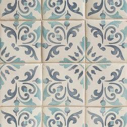 Duquesa Catarina Decorative Field Tile in Acqua - Ceramic and Terracotta