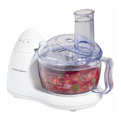 Hamilton Beach - Food Processor 8 Cup - From Hamilton Beach, this Food Processor has a 300 Watt motor and space-saving design. It has a convenient On/Pulse dial and Stainless Steel chopping blade and slicing/shredding disc. It provides in-bowl storage and bowl, lid and blades are dishwasher safe.