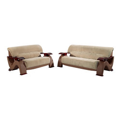 Global Furniture USA - U2033 Beige Fabric & Brown Vinyl Three Piece Sofa Set With Mahogany Arms - The U2033 sofa set will add a stylish modern look to any decor it's placed in. This sofa set comes upholstered in a beautiful beige champion fabric on the seating area. The fabric is very plush and soft to the touch. On the back and sides the sofa set is upholstered in a brown vinyl material. High density foam is placed within the cushions for added comfort. Each piece features wooden arms and feet with a mahogany finish. The price shown includes a sofa, loveseat, and chair only.