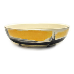 Medium Low Bowl, Yellow/Gold/Grey