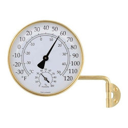 ConantCustomBrass - Vermont Weather Station Living Finish Brass - Weather Station -Dial Thermometer and Hygrometer combination. Solid Brass and Glass, Conant Vermont Collection . Solid brass dial instrument, with reversible mounting arm and bracket. Glass crystal. 4.25 inch dial Farenheit and Celsius scales.
