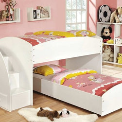 White Wood Storage Twin Twin Loft Bunk Beds Stairs Drawers Kids Steps - This white bunk bed boasts of being able to convert from a loft to bunk bed, built in steps and drawers for extra storage, solid wood construction, beautiful white finish, mattress ready, twin over twin low profile design.