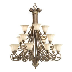 """Progress Lighting - Progress Lighting P4147-91C Chandelier - Biscay Crackle - Progress Lighting P4147 16 Light Le Jardin Tier Chandelier Le Jardin 16 Light 3-Tier ChandelierComes with 15' wire ,. This product from Progress Lighting is offered in biscay crackle. Features weathered sand stone glass. Works with 16 75-watt frosted incandescent bulbs. Ceiling Mount on chain. Three tiers. Weathered sandstone glass shades. Includes 10 feet of chain. Covers outlet box. Mounting strap for outlet box included. UL Listed. Width: 42"""". Height: 51"""". Total Wattage: 1200."""