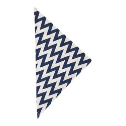 """Pine Cone Hill - PCH Chevron Navy Napkin Set of 4 - PCH delivers simple style to the dining table with Chevron cloth napkins. Layer this classic zig zag pattern in navy blue and white with table linens in other patterns and colors to create a range of contemporary looks. 22"""" Square; Set of 4; 50% cotton, 50% linen; Designed by Pine Cone Hill, an Annie Selke company; Machine wash, tumble dry low"""