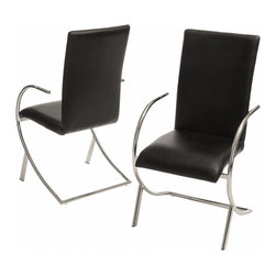 Great Deal Furniture - Prima Black Leather Side Chairs (Set of 2) - Dine in complete modern elegance with the Prima Leather Side Chair. Simply stunning, this modern dining chair has a sleek yet luxurious look that will effortlessly enhance your home. The perfect curve of its seat and legs creates a chair that is both functional and visually stunning. Use several of these chairs around your dining table for comfortable, impressive seating at any meal.