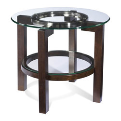 Bassett Mirror - Bassett Mirror Oslo Round End Table with Glass Top T1705-220EC - Bassett Mirror Oslo Round End Table with Glass Top T1705-220EC