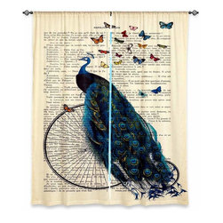 """DiaNoche Designs - Window Curtains Lined - DiaNoche Designs - Madame Memento - Peacock Butterflies - DiaNoche Designs works with artists from around the world to print their stunning works to many unique home decor items.  Purchasing window curtains just got easier and better! Create a designer look to any of your living spaces with our decorative and unique """"Lined Window Curtains."""" Perfect for the living room, dining room or bedroom, these artistic curtains are an easy and inexpensive way to add color and style when decorating your home.  This is a woven poly material that filters outside light and creates a privacy barrier.  Each package includes two easy-to-hang, 3 inch diameter pole-pocket curtain panels.  The width listed is the total measurement of the two panels.  Curtain rod sold separately. Easy care, machine wash cold, tumble dry low, iron low if needed.  Printed in the USA."""