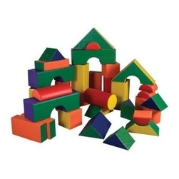ECR4KIDS 35 Piece Jumbo Soft Blocks - Let your children's imagination run free with the ECR4KIDS 35 piece Jumbo Soft Blocks. Designed to stimulate your kids' gross and motor skills, this set is suitable for pre-schoolers. All the pieces feature bright primary colors, which are perfect for catching children's attention. These pieces are filled with soft polyurethane foam and clad in reinforced, phthalate-free vinyl for durability. In addition, this GREENGUARD-certified set is CPSIA-compliant for safety and adheres to CA-117 requirements for fire retardancy.About Early Childhood ResourcesEarly Childhood Resources is a wholesale manufacturer of early childhood and educational products. It is committed to developing and distributing only the highest-quality products, ensuring that these products represent the maximum value in the marketplace. Combining its responsibility to the community and its desire to be environmentally conscious, Early Childhood Resources has eliminated almost all of its cardboard waste by implementing commercial Cardboard Shredding equipment in its facilities. You can be assured of maximum value with Early Childhood Resources.