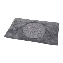 Prestige Cotton Bath Rug Rosa Dark Grey - This prestige cotton bath rug Rosa is 100% cotton. Ultra-soft, deep, and inviting, this bath mat is a rug you can luxuriously sink your toes in and will give a sophisticated look to any bathroom. This beautiful bath rug features an eye-catching center panel with an embroidered rose pattern. It provides a soft, cushioned feel, shock absorption and is durable. Manufacturer recommends using a nonskid pad beneath the rug (not included). Hand wash and no dryer. Indoor use only. Width 20-Inch and length 31.5-Inch. Color grey and dark grey. Enhance your bathroom decor with this handsome prestige bath rug and add an understated elegance to your space. Imported.