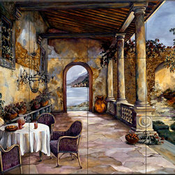 The Tile Mural Store (USA) - Tile Mural - Loggia By The Sea - Ks - Kitchen Backsplash Ideas - This beautiful artwork by Karen Stene has been digitally reproduced for tiles and depicts a nice tuscan veranda.  This garden tile mural would be perfect as part of your kitchen backsplash tile project or your tub and shower surround bathroom tile project. Garden images on tiles add a unique element to your tiling project and are a great kitchen backsplash idea. Use a garden scene tile mural for a wall tile project in any room in your home where you want to add interesting wall tile.