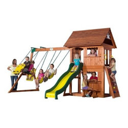 Backyard Discovery Alpine Wood Swing Set - Children's propensity to climb comes from their need to develop and explore their own physical capabilities, and the Backyard Discovery Alpine Wood Swing Set gives them every opportunity to do just that. With a safety ladder in back and a more adventurous rock wall on the side, kids are able to climb up to a large mountain cottage-like deck. This small fortress has a quaint scallop-edged roof with sunburst end caps that look like a sunrise just coming up over the ridge. Sliding back down the mountain on the eight-foot-long bumpy speedy slide brings them to a trailside snack stand with serving window and integrated bench. And the glider and swings give them that high-altitude feeling of almost being able to kiss the sky. This kind of imaginative play bolsters their self-confidence as well as their creativity. Whether your children pretend this play set is a treetop fortress, a mountain, or even a racetrack, one thing is certain: they will love running out to climb, explore, and reinvent it. This kind of active outdoor play has a profound effect on childhood development, establishing lifelong habits of healthy natural exercise. And by working out their bodies, kids are able to better clear their minds, which will also allow them to better focus when mental concentration is needed instead.About Backyard DiscoveryHoping to encourage a healthier model of living, Backyard Discovery starts with active outdoor play for children. Producing residential play sets that feature hundreds of possible configurations, a wide range of accessories, and truly unique safety features, Backyard Discovery has become a leader in outdoor play structures. Though Backyard Discovery is the product of a merger between Leisure Time Products and Backyard Adventures in 2007, their history and experience stretches way back to 1968, when the original parent company began producing outdoor-grade plastic and metal products for a variety of industries, like agriculture. Backyard Discovery has now chosen to direct its focus toward outdoor family leisure, trying to promote fresh air, friendship, exercise, and imagination. Moving forward, the company has begun to branch out from play sets to include gardening and patio products as well as sheds and dog houses, aiming to create a happy healthy outdoor environment for the whole family.
