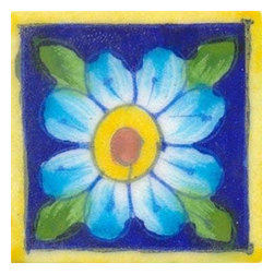 "Knobco - Tiles 2X2""Inch, Blue Tile With Turquoise Flower - Blue tile with turquoise flower from Jaipur, India. Unique, hand painted tiles for your kitchen or other tiling project. Tile is 2x2"" in size."