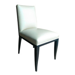 """Used Mattaliano White Leather Dining Chairs - Set of 8 - A sweet set of Mattaliano armless dining chairs upholstered in Holly Hunt Great Plains vanilla leather. The legs feature a dark stained finish and have some minor consistent with use. All this set needs is a dinner party! Seat height is 20""""."""