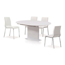 New Spec - 5 Pc Cafe Dining Set - Includes Table and 4 chairs. Stainless steel legs. Glossy MDF material. Butterfly Extended. Modular Assemble. Table: 47.24-62.99 in. W x 47.24 in. D x 30.31 in. H (170 lbs). Chair: 23.03 in. D x 16.93 in. W x 33.66 in. H