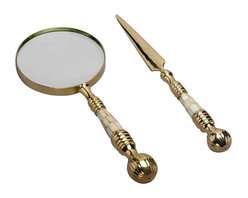 AA Importing - Magnifying Glass & Letter Opener Set w Pearl - Set includes magnifying glass and letter opener. Gold finish metal with pearl inserts on handles. Magnifier: 10 in. L x 4 in. Dia.. Opener: 10 in. L