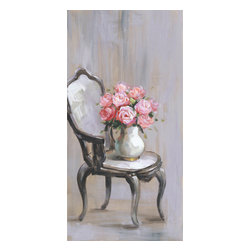 YOSEMITE HOME DECOR - Chair Of Roses I - Here's another variation of a canvas painting with an antique wooden framed chair with white seat and back cushion complete with a white vase with pink roses. This painting features shades of off white with grey like under tones.