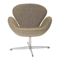 Arne Jacobsen Style Swan Chair in Oatmeal - In every sense of the word the Swan Chair is a true classic that will never go out of style. The chair was designed in 1958 and was developed for the lobby and reception areas at the Royal Hotel in Copenhagen, and Poly+Bark's Replica is of the highest quality.