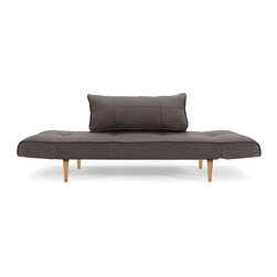"""Innovation USA - """"Innovation"""" Zeal Deluxe Basic Gravel Daybed / Lacquered ... - Elegant daybed sofa with laconic shapes will add some warmth and comfort to your modern living area. This ultra comfy couch can transform into a full bed position.Find this product in White Leather Textile, Mixed Dance Light Blue, Black Leather Textile, Basic Orange andGravel colors. See more colors in theZeal Deluxe Collection below."""