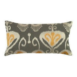 Rizzy Home Gray & Yellow Ikat Decorative Throw Pillow - The Rizzy Home Gray & Yellow Ikat Decorative Throw Pillow features a classic and exotic Ikat pattern in sophisticated gray and yellow. You'll love the way this accent pillow makes your sofa sing. It's made with a quality cotton slub cover and has a hidden zipper and plush, removable insert. To clean, simply machine or hand wash the cover in cold water and lay flat to dry.About Rizzy HomeRizwan Ansari and his brother Shamsu come from a family of rug artisans in India. Their design, color, and production skills have been passed from generation to generation. Known for meticulously crafted, handmade wool rugs and quality textiles, the Ansari family has built a flourishing home-fashion business from state-of-the-art facilities in India. In 2007, they established a rug-and-textiles distribution center in Calhoun, Georgia. With more than 100,000 square feet of warehouse space, the U.S. facility allows the company to further build on its reputation for excellence, artistry, and innovation. Their products include a wide selection of handmade and machine-made rugs, as well as designer bed linens, duvet sets, quilts, decorative pillows, table linens, and more. The family business prides itself on outstanding customer service, a variety of price points, and an array of designs and weaving techniques.
