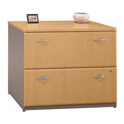 Bush Business - Lateral File in Light Oak - Series A - This attractive Lateral File with Light Oak Veneer has adjustable levelers and a door interlock system to reduce the chance of tipping.  An interchangeable lock core offers privacy and flexibility, while ball bearing drawer glides provide full extension and smooth operation.  Add lots of extra and highly accessible filing space at a reasonable price.  The Lateral File Cabinet finished in Light Oak, is sturdily constructed with a scratch-resistant surface.  This flexible unit can be organized to hold standard or extended files. * Add lots of extra and highly accessible filing space at a reasonable price. The Lateral File Cabinet finished in Light Oak, is sturdily constructed with a scratch-resistant surface. This flexible unit can be organized to hold standard or extended. 35.669 in. W x 23.346 in. D x 29.764 in. H