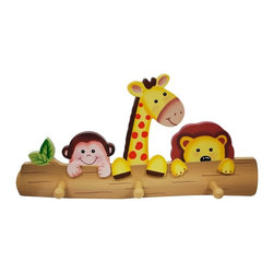 Fantasy Fields - Fantasy Fields Sunny Safari Peg Hooks - TD-11637A - Shop for Wall Hooks Racks and Shelves from Hayneedle.com! Hang up jackets cameras binoculars and more with the Fantasy Fields Sunny Safari Peg Hooks. Getting out the door goes more smoothly with this colorful board featuring a monkey giraffe and lion. This piece coordinates with other Teamson Sunny Safari pieces so you can furnish a nursery or kids' room in style. About Teamson DesignBased in Edgewood N.Y. Teamson Design Corporation is a wholesale gift and furniture company that specializes in handmade and hand-painted kid-themed furniture collections and occasional home accents. In business since 1997 Teamson continues to inspire homes with creative and colorful furniture.