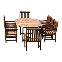 Amazonia - Milano 9 Pc Grand Extendable Deluxe Table Set - Set includes Oval Table and 8 Arm Chairs. Solid Eucalyptus wood and galvanized steel hardware. 100% FSC certified. Free Feron's wood sealer/preservative for longest durability. It works great against the effects of air pollution salt air, and mildew growth. For best protection, perform this maintenance every season or as often as desired. Great functionality. 100% FSC Eucalyptus Wood. Some assembly required. Brown finish. Table: 70-94 in. W x 45 in. D x 29 in. H. Arm Chair: 23 in. W x 19 in. D x 35 in. HGreat quality, stylish design patio sets, made of 100% FSC approved Eucalyptus wood. Enjoy your patio with elegance all year round with the wonderful Amazonia outdoor collection.