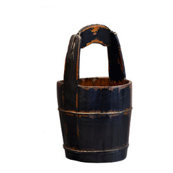 Antique Revival - Black Vintage Ridge Bucket - This vintage, old-fashioned water bucket is handmade from elm, with an iron handle and iron banding to strengthen and support. The solid structure makes it great for storing items or simply for display. The distressed paint finish adds a rustic touch to any room, and the distressed black brings a rustic feel for the home.  Each item is unique and one-of-a-kind and dimensions/features may slightly vary.