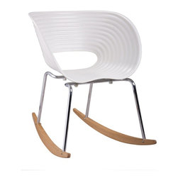 Horizontal Rocker - The Horizontal Rocker Rocking Chair is a unique yet classic piece. Precisely made with stainless steel legs, and runners in solid oak wood with a curved seating area and intricate wave design. This rocking chair will be perfect in your living room, childrens room or office.