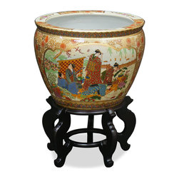 China Furniture and Arts - 18in Hand Painted Satsuma Design Fishbowl - This beautiful fishbowl is made in Satsuma style, which elaborately employs the use of gold. The center scene depicts Japanese courtesans leisurely spending their time in the garden. It gives a plant a decorative place to call a home. Stand sold separately.