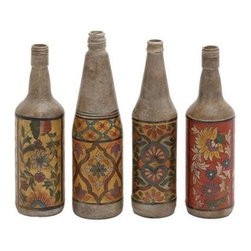 Benzara - Terracotta Bottles Set of Four with Beautiful Floral Hand Paintings - Terracotta bottles set of four with beautiful floral hand paintings. Featuring a perfect fusion of traditional art and modern taste, this Set of four terracotta bottles will add a welcome breath of fresh air to your interior decor with their traditional appeal and contemporary design. Some assembly may be required.