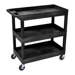 Luxor Furniture - Luxor Three Shelf Utility Cart - Ergonomic push handle molded into top shelf. 4 in.  full swivel casters, two with locking brake. 400 lb. weight capacity (evenly distributed). 18 in. D x 35¼ in. W x 36¼ in. H. 2 1/2 in.  deep tub shelves are 10½ in.  apart. 33% more capacity than our 18 x 24 tub cart. Tub shelves that are 18 in. D x 32 in. W.. Assembly Required. Easy assembly.. Made in USAThe Luxor E Series utility carts are made of high density polyethylene structural foam molded plastic shelves and legs that won't stain, scratch, dent or rust.