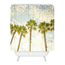 Palms of Light Shower Curtain - Add waterproof artwork to your bathroom in the form of a shower curtain. Bringing modern, sun-loving life to your bathroom is the high-quality Palms of Light Shower Curtain. Made from 100% woven polyester, it's also machine wash- and dryable.