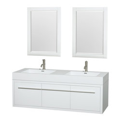 """Wyndham Collection - Axa 60"""" DBL Bathroom Vanity in White, Acrylic Resin Top, Int. Sinks, 24"""" Mirrors - The bold, ultra-modern and visually stunning design of the Axa wall-hung vanity makes a powerful statement while incorporating generous counter space and storage for bath items. The one-of-a-kind styling ensures a high-end look at a very reasonable price and brings an element of contemporary sophistication to a fabulous bathroom remodel. Satin Chrome accents finish the look - It's quite remarkable, and all the more so in person."""