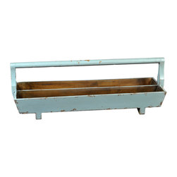 Antique Revival - Aqua Marta Double Tray w/ Handle - This long, rectangular double planter tray includes a handle, making it easy to carry and transport between rooms. The wooden structure is sturdy and solid, and the lightly distressed, bright blue finish adds a splash of color to your kitchen or patio.
