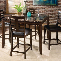 Standard Furniture - Bella 5 Pc Dining Set in Walnut Finish - Set includes table and 4 counter stools. French dovetail. Top drawers are lined with Brown felt. Faux marble travertine color tops. Surfaces clean easily with a soft cloth. Counter height table will comfortably seat 4. Server has two drawers and doors and a removable wine rack. Quality veneers over wood products and select solids used throughout. May contain some plastic parts. Seat cushions are PU Brown color. Walnut finish. Table: 48 in. L x 48 in. W x 36 in. H (95.7 lbs.). Chair height: 43 in.. Chair weight: 23.1 lbs.. Seat height: 24 in.The sleek contemporary lines of Bella will enhance any modern living environment.
