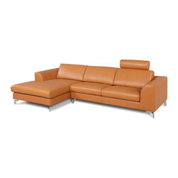 White Line Imports - Angela Camel Sectional with Left-Side Chaise - Features: