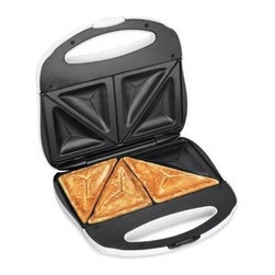 Hamilton Beach - Proctor Silex Sandwich Toaster - Make hot sandwiches the easy way with this Proctor-Silex  Sandwich Toaster.  It is fast and easy to use with nonstick  easy-clean  indented grids.  It has Power On/Preheat lights.  Compactly stores upright when lid is locked and cord is wrapped.   .