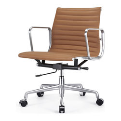 "Meelano - M341 Eames Style Aluminum Group Office Chair in Brown Leather - Add a healthy pinch of style to your nine-to-five with this sleek Eames-inspired ergonomic chair. A classic of modern design, it's crafted in rich Italian leather and stainless steel for a minimalist look that's majorly attractive. Its ergonomic features and distinctive ribbed seat make it a ""must"" for your harmonious and healthy office."