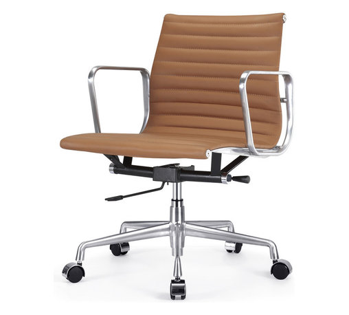"""Meelano - M341 Eames Style Aluminum Group Office Chair in Brown Leather - Add a healthy pinch of style to your nine-to-five with this sleek Eames-inspired ergonomic chair. A classic of modern design, it's crafted in rich Italian leather and stainless steel for a minimalist look that's majorly attractive. Its ergonomic features and distinctive ribbed seat make it a """"must"""" for your harmonious and healthy office."""
