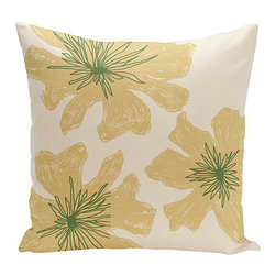 e by design - Floral Off-White and Yellow 16-Inch Cotton Decorative Pillow - - Decorate and personalize your home with coastal cotton pillows that embody color and style from e by design  - Fill Material: Synthetic down  - Closure: Concealed Zipper  - Care Instructions: Spot clean recommended  - Made in USA e by design - CPO-NR17-Bisque_Emperor-16