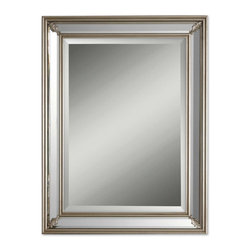 mirrors - The frame has antiques silver leaf inside and outside edges. Beveled mirror panels are set on all four sides creating the frame width. May be hung either horizontal or vertical.