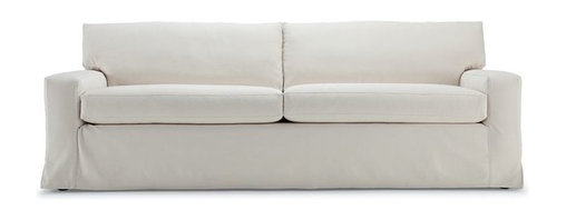 Dominique 89-Inch Slipcovered Sofa - Different sizes of this streamlined sofa are available in natural denim and 100-percent cotton. It has a good updated look.