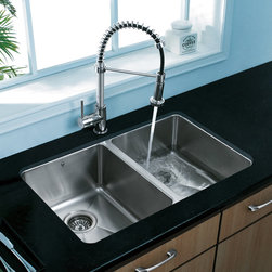 VIGO Premium Collection Double Kitchen Sink & Faucet VG14003 - VIGO Premium Collection Undermount Stainless Steel Double Kitchen Sink and Faucet VG14003
