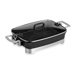 """Hamilton Beach - Hamilton Beach Premiere Cookware Electric Skillet - The Premiere Cookware Skillet is equipped with 1500-watts of power for fast heatup. The 12"""" x 16"""" die-cast aluminum pan offers excellent cooking performance and is nonstick inside and out."""