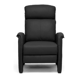 Wholesale Interiors - Baxton Studio Aberfeld Modern Recliner - Let the Aberfeld Modern Recliner do all the work as you kick back and relax! More than just a recliner, this living room chair features stylish contemporary detailing in its form and stitching: Soft and supple while the steel mechanism is reliably supportive. To recline, grip the armrests and use your weight to lean on the backrest. Medium-firm foam cushions and plastic disc feet complete this chair, a new contemporary classic. Features: -Materials: Steel frame and mechanism.-Faux leather seat.-Polyurethane foam cushioning.-Wipe clean with a dry cloth.-Baxton Studio collection.-Collection: Baxton Studio.-Distressed: No.Dimensions: -Overall Dimensions: 41.25'' H x 31.5'' W x 30.9'' D.-Overall Product Weight: 63.6 lbs.