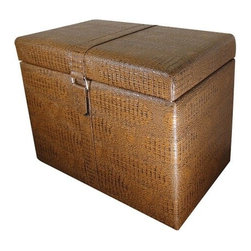 """ACMACM96102 - Brown Faux Alligator Print Upholstered Storage Ottoman with Buckle Look - Brown faux alligator print upholstered storage ottoman with buckle look and strap. Measures 24"""" x 16"""" x 18"""" H."""
