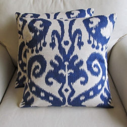 Ikat Pillow Covers, Indigo Blue by Yiayias - Pillows are one of the fastest and easiest ways to breathe new life into your space. They can add an instant pop of color and be switched out with the seasons.
